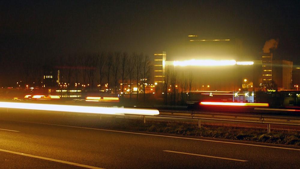 A50 light sculpture highway night lights