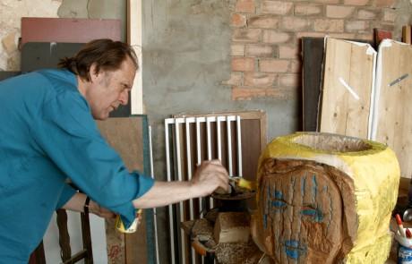 Artist Dick Verdult at work Calanda