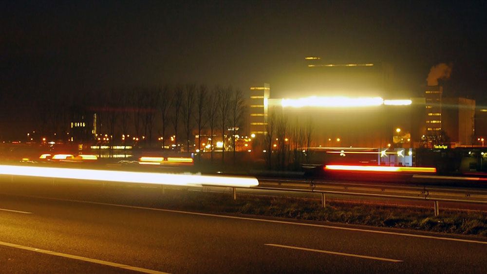 A50 light sculpture highway night lights