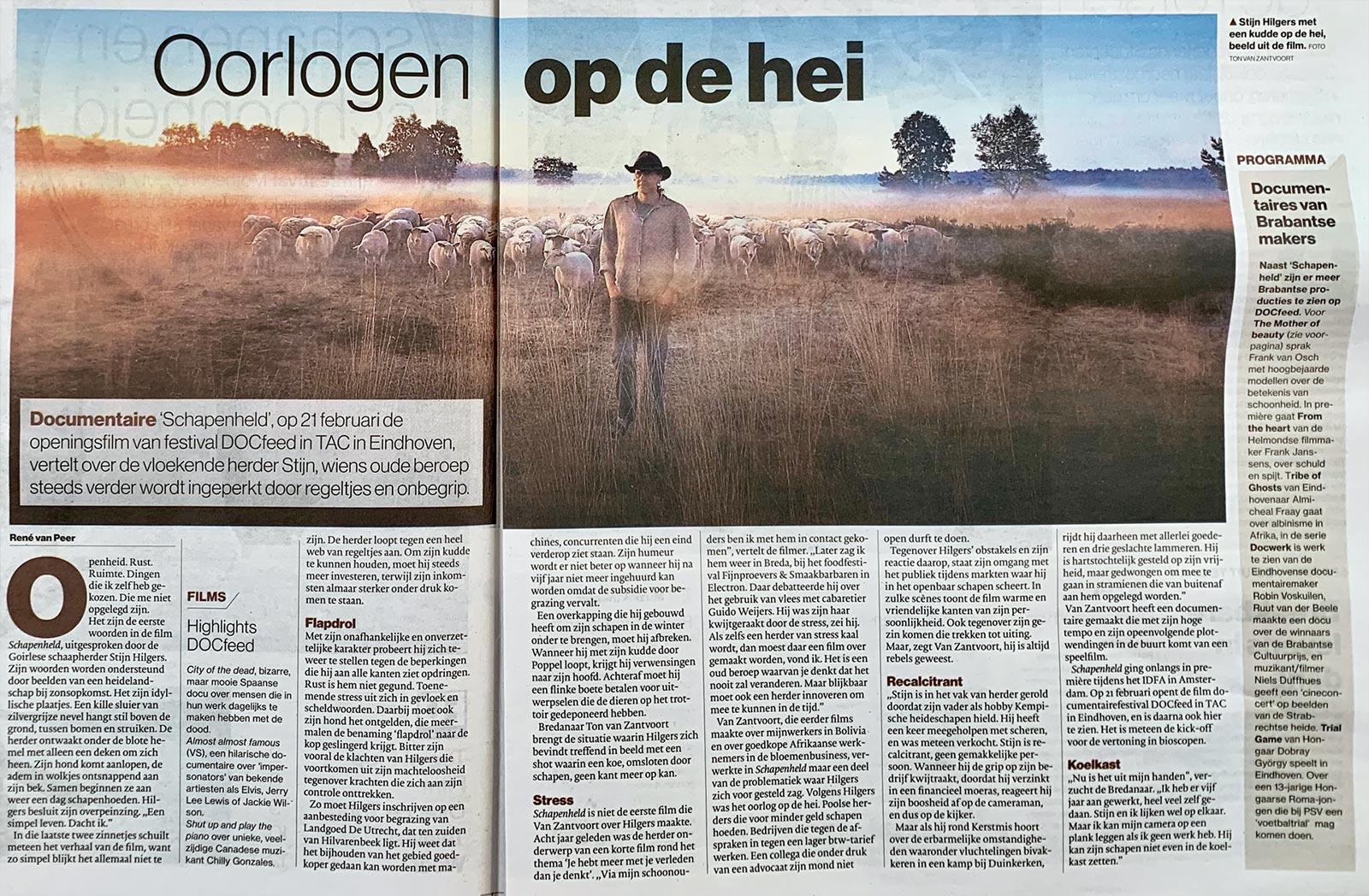 Eindhovens Dagblad ED Oorlogen op de hei ene van peer Schapenheld Ton van Zantvoort 13 februari 2019