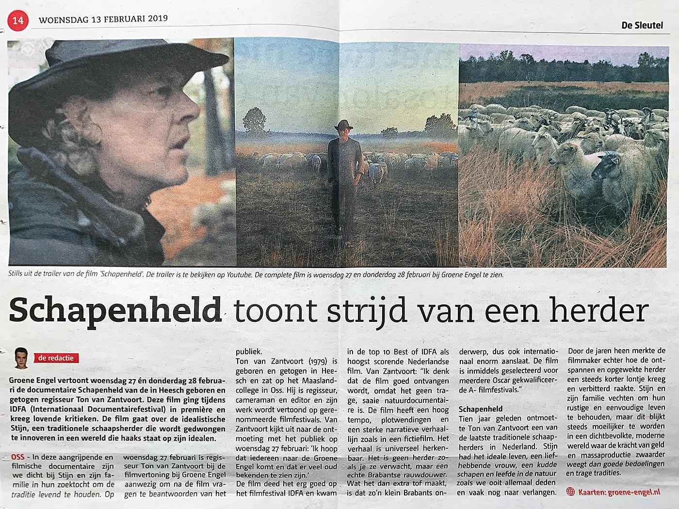 Oss sleutel Schapenheld toont strijd van een herder 13 februari 2019