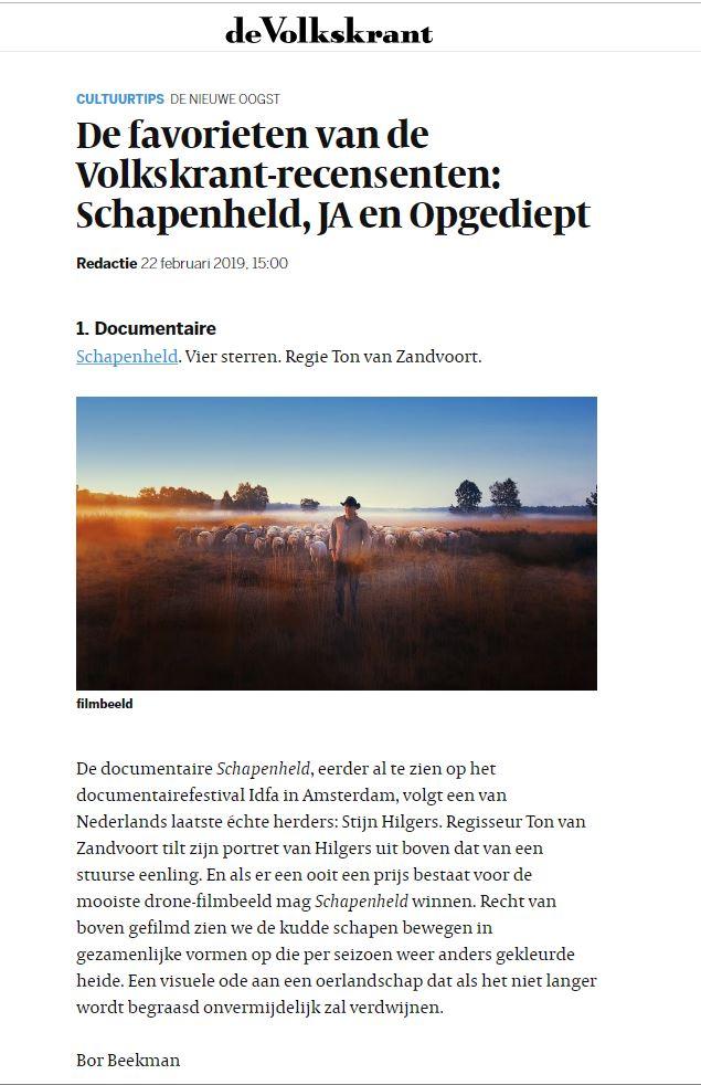 Volkskrant favoriet Ton van Zantvoort