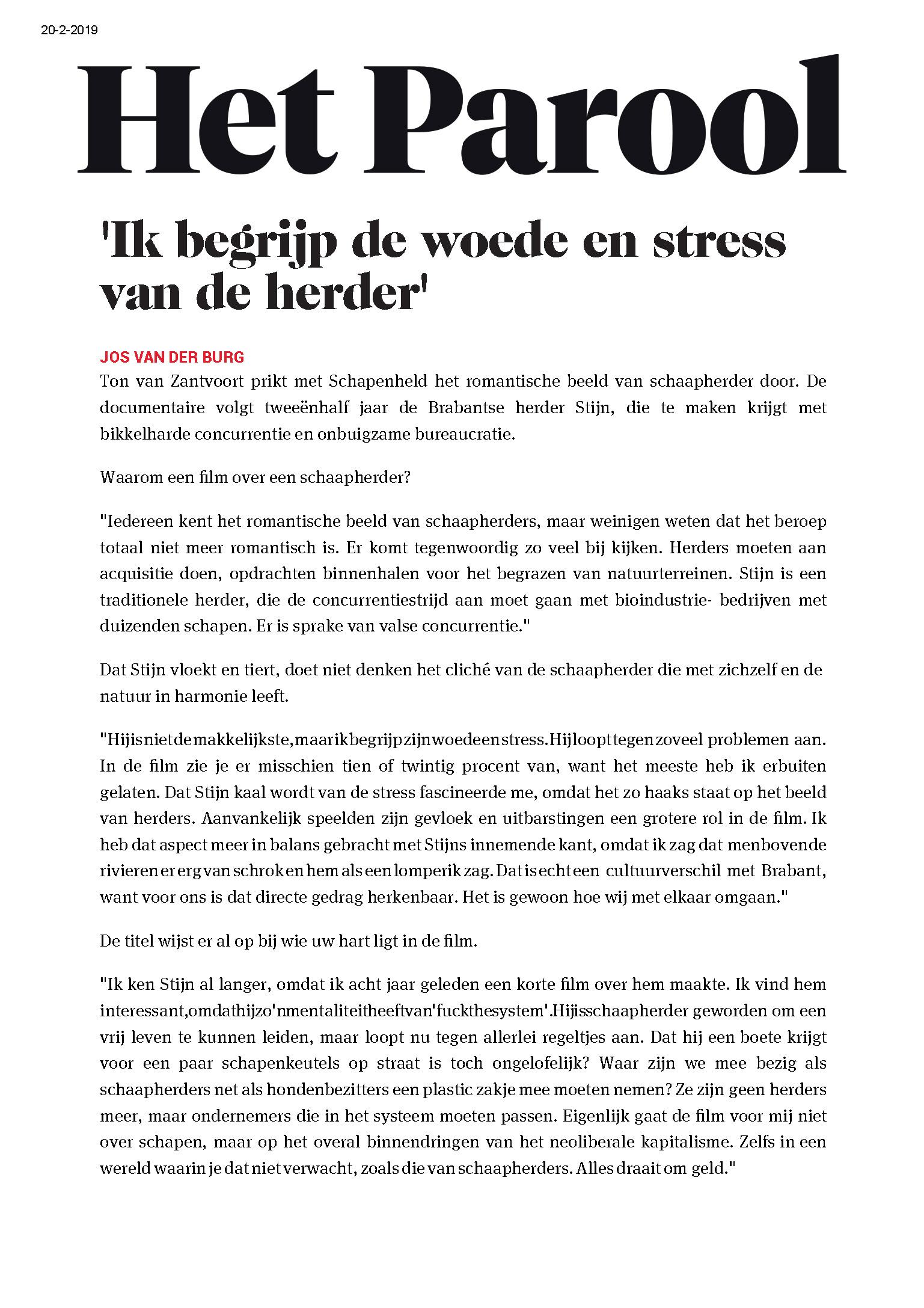 Het Parool-'Ik begrijp de woede en stress van de herder' _Pagina_1